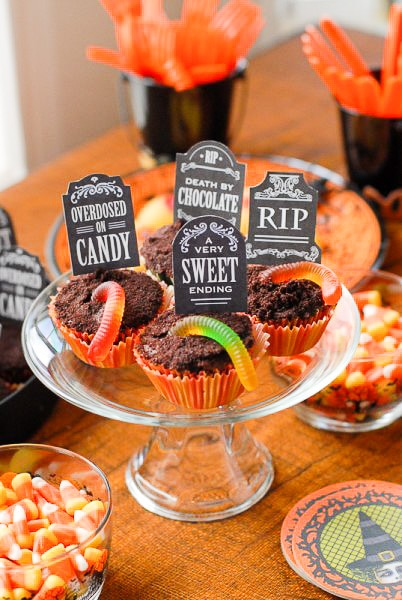 Graveyard Cupcakes with Printable Tombstone toppers - BoulderLocavore.com