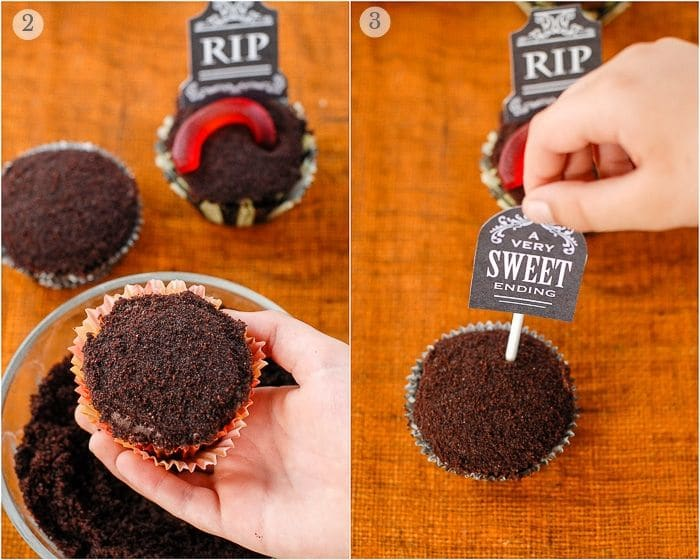 chocolate crumb topped cupcake with tombstone topper