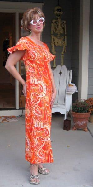 A woman wearing a tiki dress