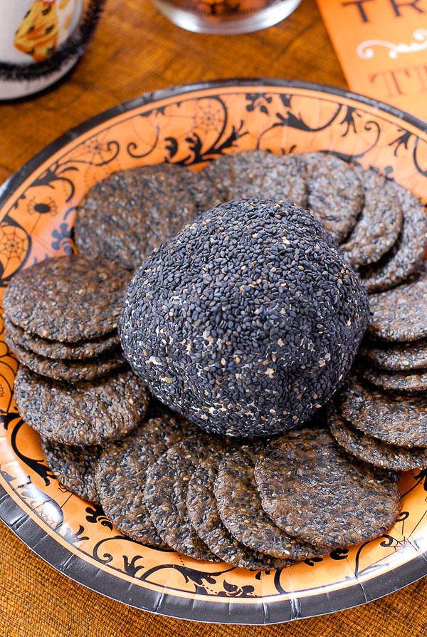 Mexican Cheese Ball with black rice crackers