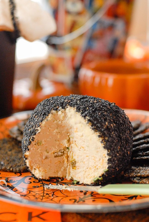 Mexican cheese ball sliced