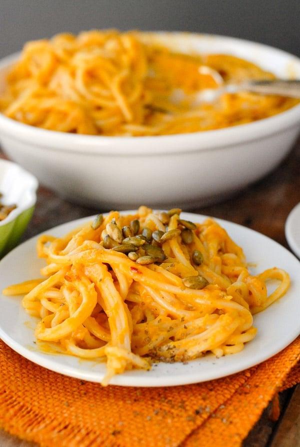 Pumpkin Chipotle Cream Pasta Sauce. Smoky, spicy, creamy pasta sauce with a light pumpkin flavor perfect for fall! | BoulderLocavore.com