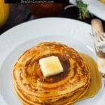 Pumpkin Ricotta Pancakes with Ginger-Thyme Syrup