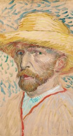 One of three of Van Gogh's self portraits in the exhibit.  I learned he had two different color eyes.  {Vincent van Gogh, Self-Portrait with Straw Hat, 1887. Oil on canvas. Van Gogh Museum Amsterdam (Vincent van Gogh Foundation).}