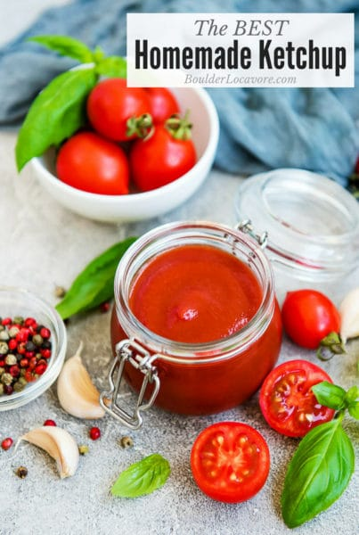The Best Homemade Ketchup in jar with ingredients