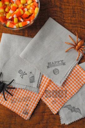 Halloween DIY homemade cocktail napkins BoulderLocavore.com
