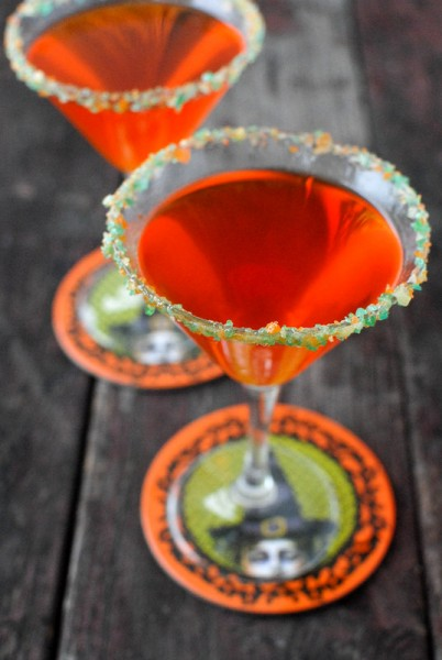 Candy Corn Vodka Martini with Pop Rocks Rim #halloween | BoulderLocavore.com