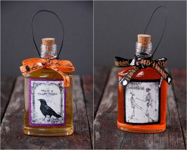 candy corn vodka in halloween bottles