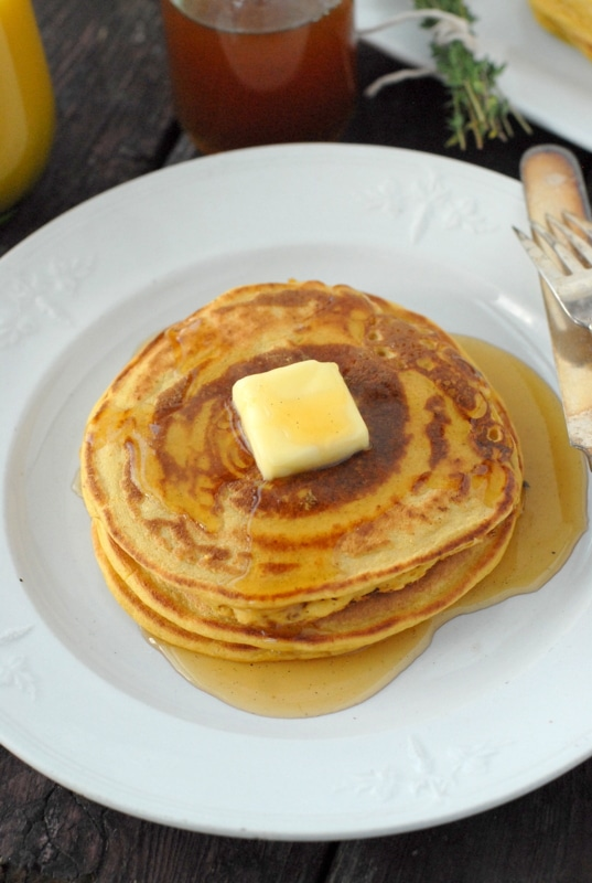 Pumpkin Ricotta Pancakes with Ginger-Thyme Syrup | BoulderLocavore.com