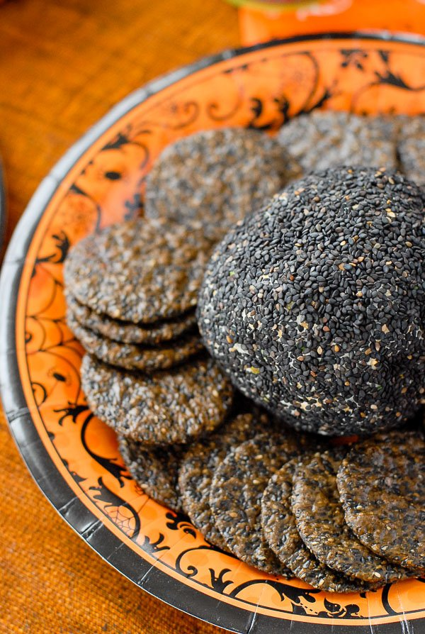 cheese ball with crackers