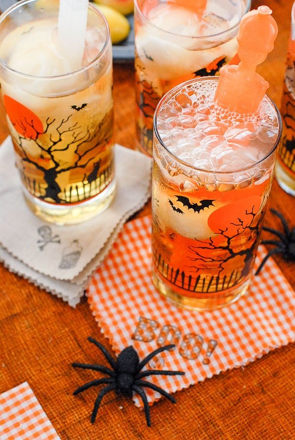 drink glasses and halloween cocktails napkins