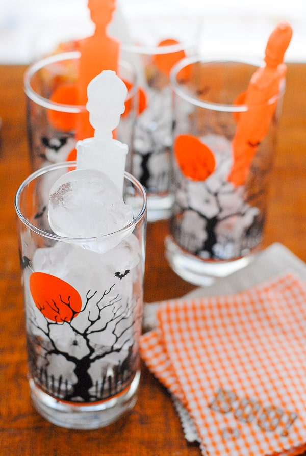 drink glasses and halloween napkins