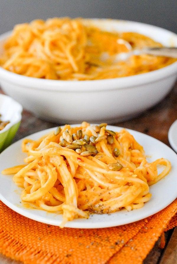 pumpkin chipotle cream sauce on pasta single serving