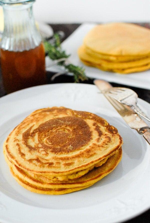 freshly cooked pumpkin ricotta pancakes (stack)
