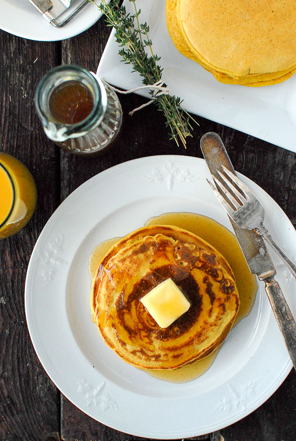 ricotta pancakes with pumpkin and homemade pancake syrup