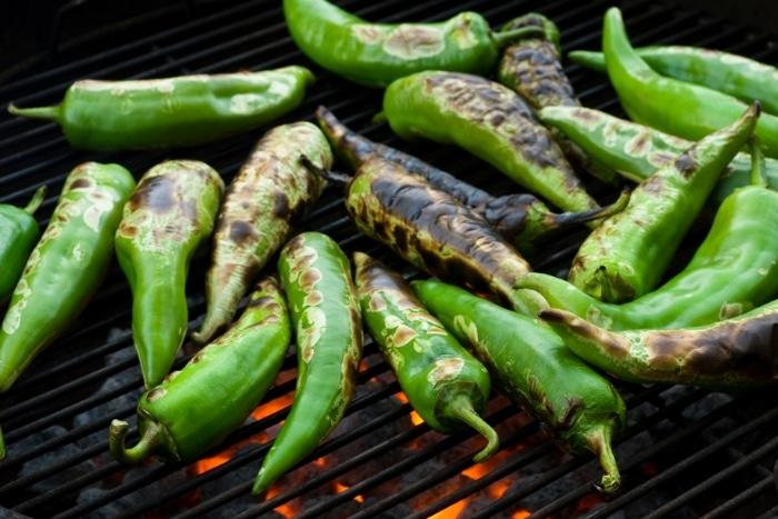 roasting anaheim green chilies
