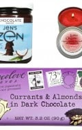 Giveaway includes: 1) Jen's Zen Chocolate Sauce (made with coconut milk) (9.5 ounces), 2) Lumia Organic Cinnamon Spice candle (4 ounces), 3) Chocolove Currant and Almonds in Dark Chocolate bar (3.2 ounces) (I love, love, love this brand; each chocolate bar comes with a love poem inside too!)
