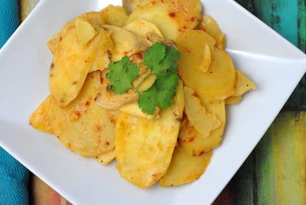 Chipotle sweet potato gratin on plate