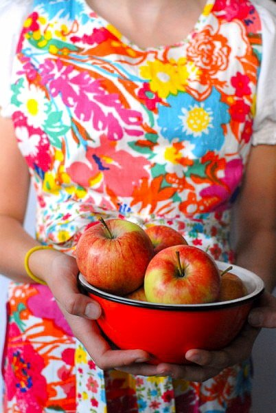Bowl of Apples and Floral Apron - BoulderLocavore.com