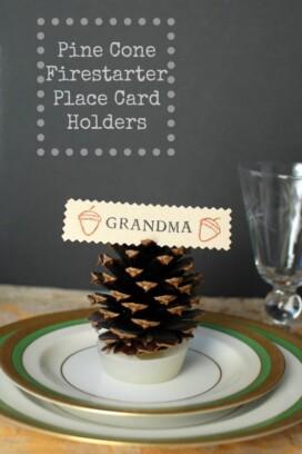 Pine Cone Firestarter Place Card Holder title image