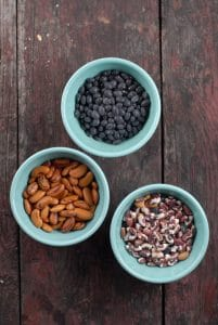 I always have a selection of dried beans in my pantry, many of which from my CSA farm.  I grabbed three of my favorites for this recipe: Black Beans, Rattlesnake Beans and Calypso Beans.