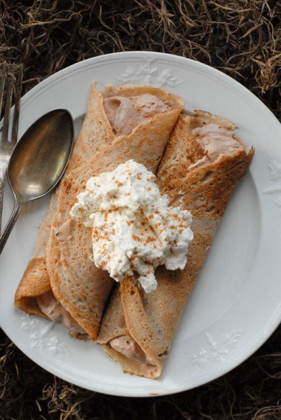Italian Chestnut Crepes with Nutella Cream filling from above