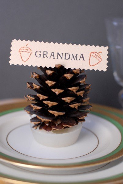 DIY Pine Cone Firestarter Place Card Holders Side view