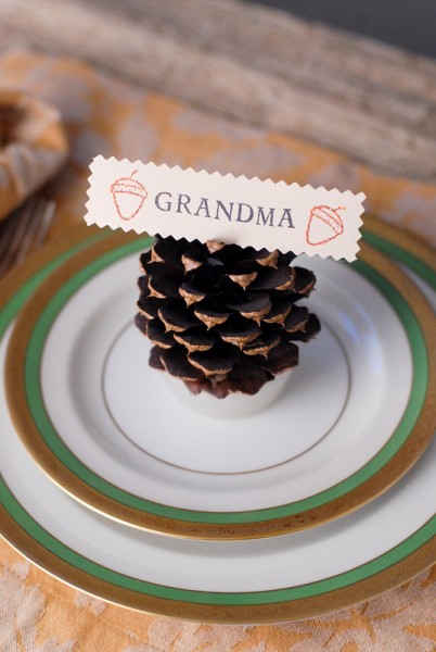 DIY Pine Cone Firestarter Place Card Holders With card