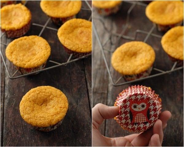 Pumpkin Cornbread Muffins freshly baked on rack