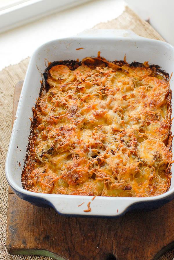 casserole dish of au gratin potatoes