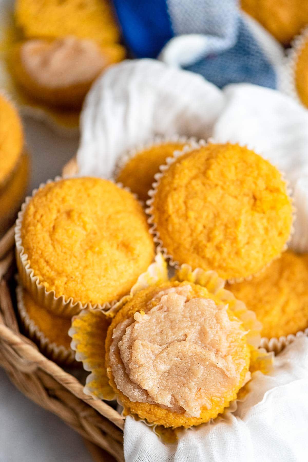 pumpkin cornbread muffins in basket