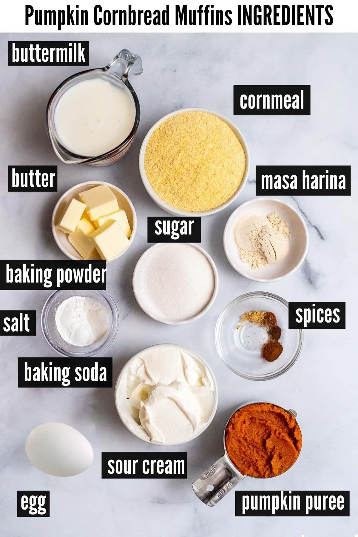 pumpkin cornbread muffins ingredients labelled
