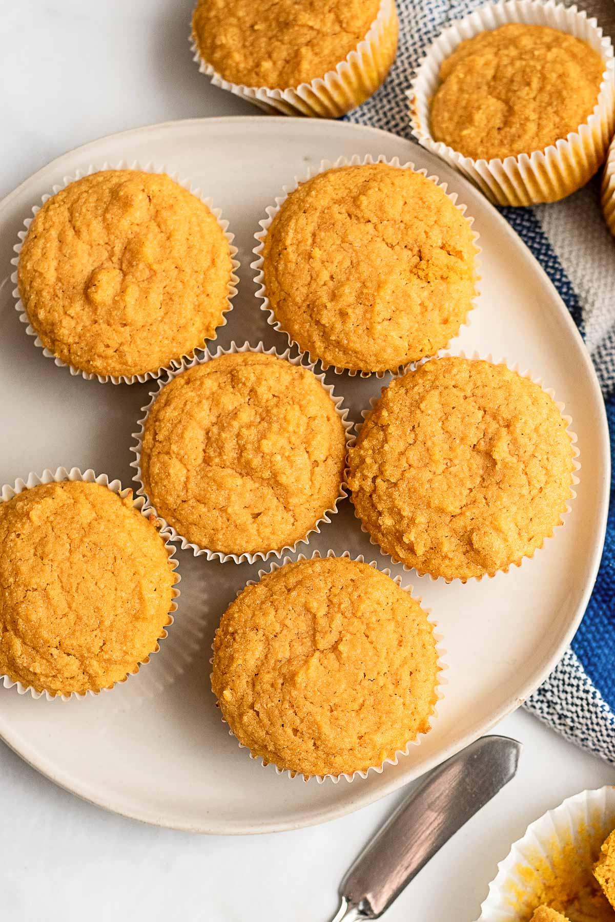 pumpkin cornbread muffins on plat