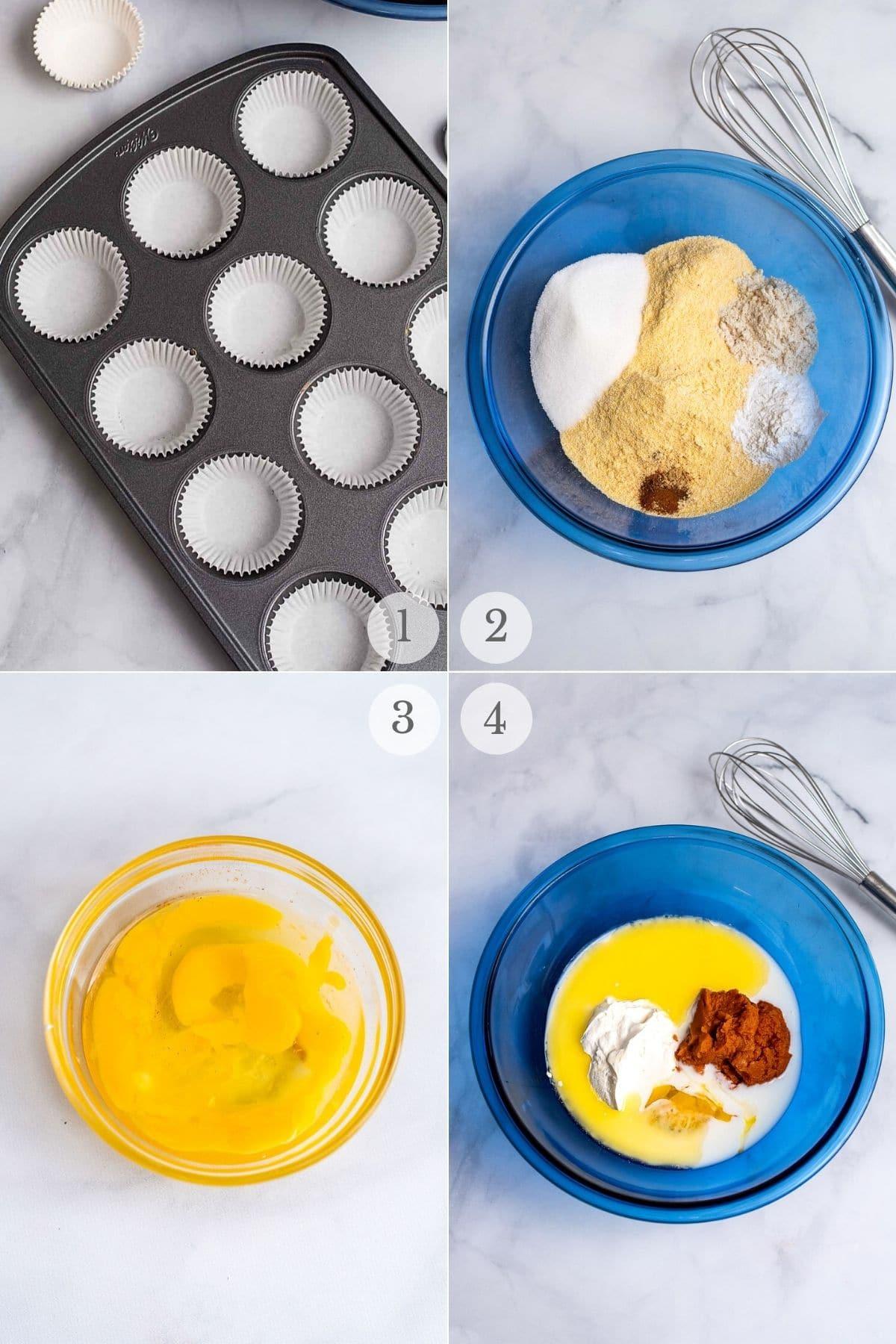 pumpkin cornbread muffins recipe steps 1-4