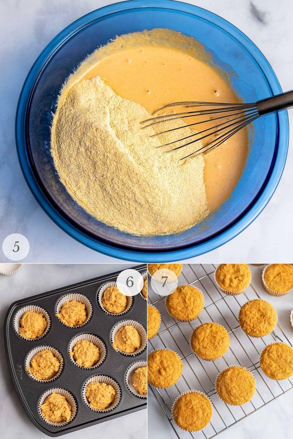 pumpkin cornbread muffins recipe steps 5-8