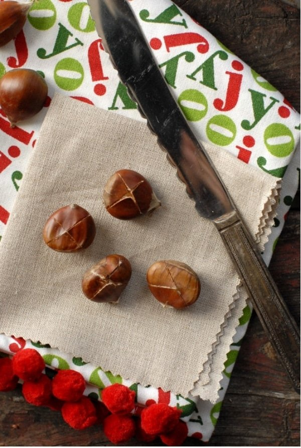 Chestnuts with an X before roasting