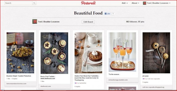 Pinterest boards and pins