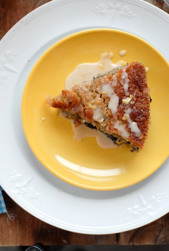 Bluebird Coffee Cake with Lemon Glaze