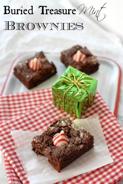 Buried Treasure Mint Brownies with a mini present