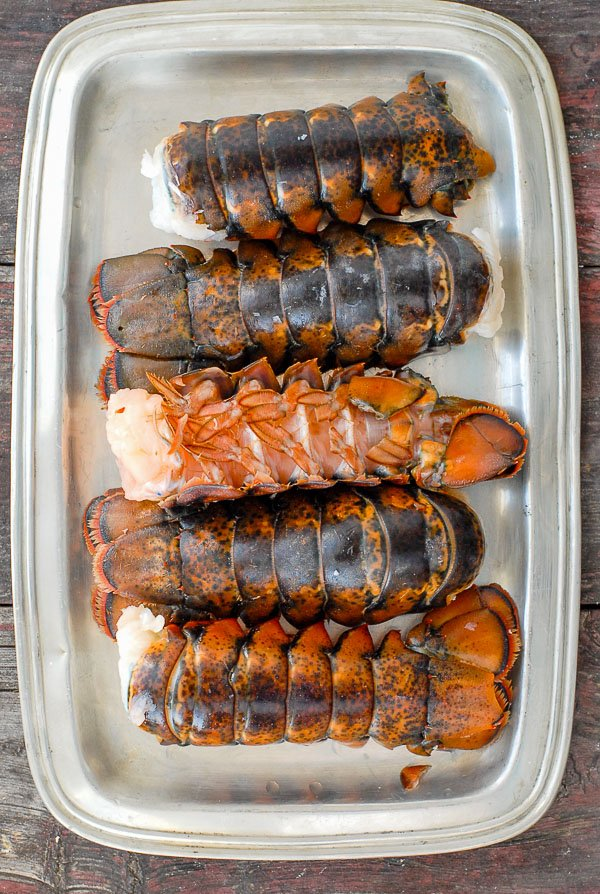 Lobster tails on a pewter platter