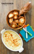 Creamy Hot Artichoke Dip with Garlic Toast Rounds {gluten free}