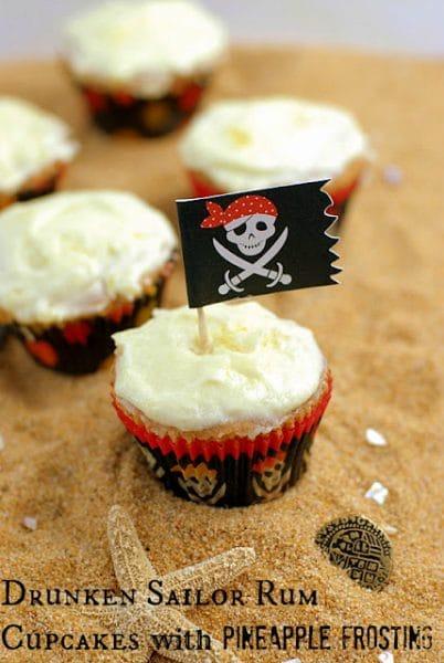 Drunken Sailor Rum Cupcakes with Pineapple Frosting {gluten free} BoulderLocavore.com