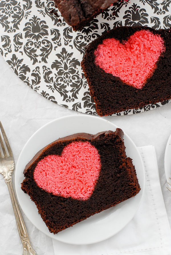 slices of Hidden Heart Valentines Pound Cake on plates