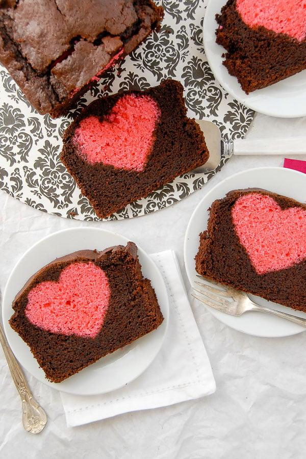 three slices of surprise heat valentines cake
