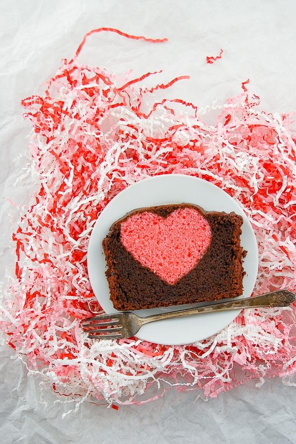 Surprise cake hidden heart cake slice