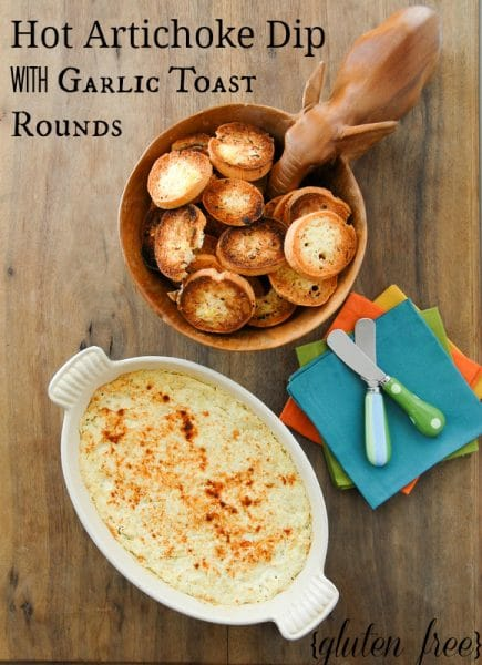 Creamy Hot Artichoke Dip with Garlic Toast Rounds gluten free BoulderLocavore