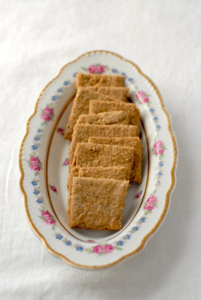 Mrs. Patmore's Rosemary Oat Crackers.  Another recipe from The Unofficial Downton Abbey Cookbook as a suggested pairing with the Saxe-Coburg Soup.