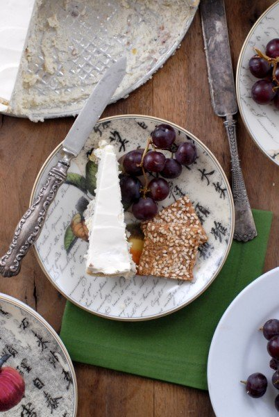 Savory Blue Cheese Cake grapes gluten free crackers