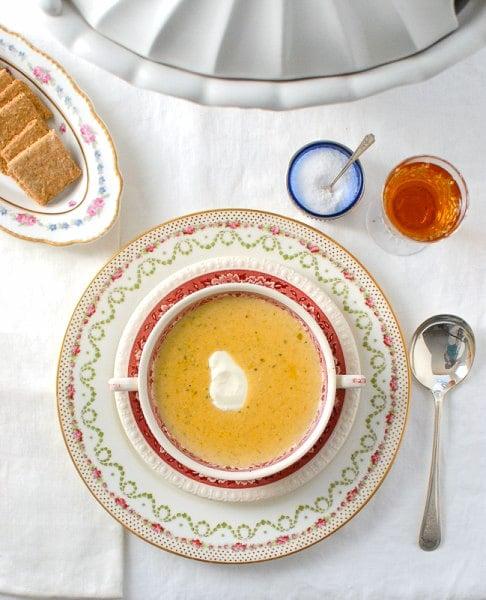 Saxe-Coburg Soup (Brussels sprouts, onion, potato) Downton Abbey recipe - BoulderLocavore.com