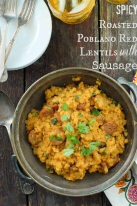 Spicy Roasted Poblano Red Lentils with Sausage Title